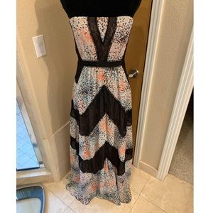 BCBG floral and black lace dress size 8